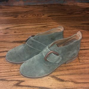 Softt Olive Green Suede Buckle Booties Boots